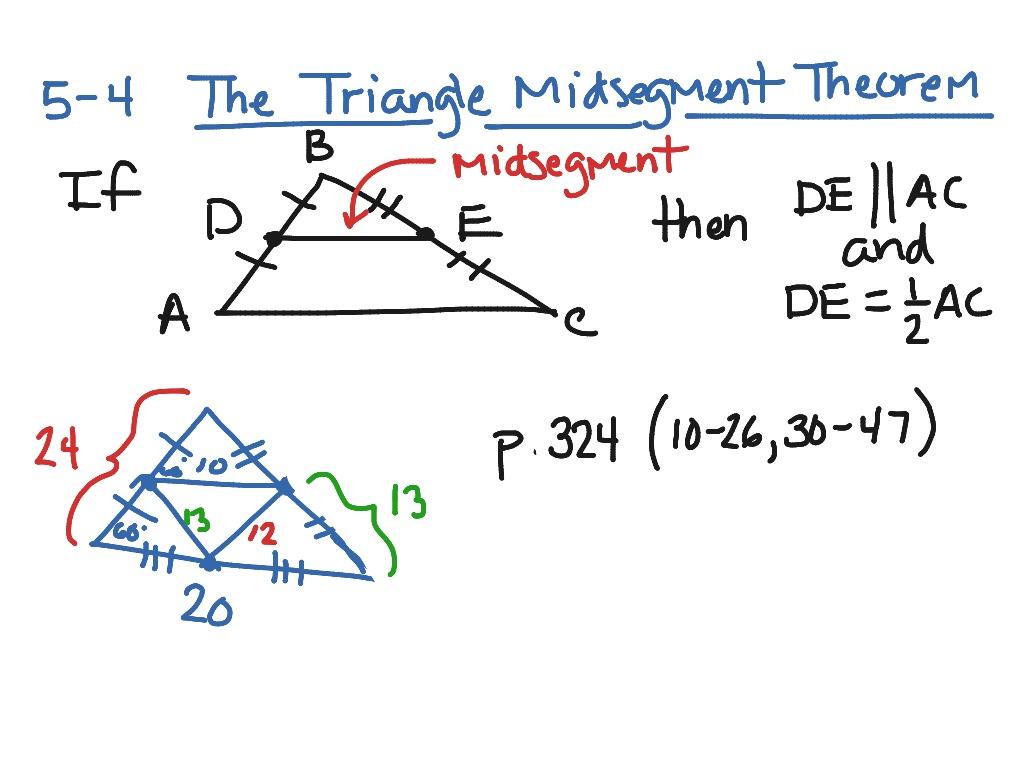 Uncategorized Midsegments Of Triangles Worksheet 5 4 triangle midsegment theorem math geometry showme